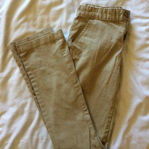 2 Pairs Khaki Uniform Pants Girls 14 Slim Old Navy